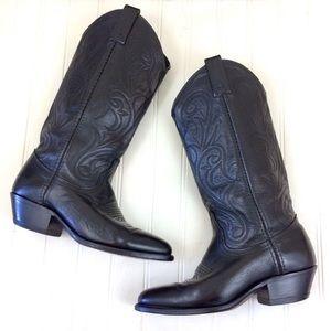 Dan Post embellished black leather cowboy boots
